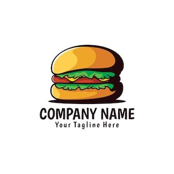 Ilustração do logotipo do desenho de mão de hambúrguer