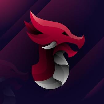 Ilustração do logotipo do dragão touro gradiente estilo colorido