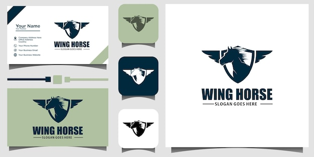 Ilustração do logotipo do emblema do cavalo voador com fundo de modelo de cartão de visita