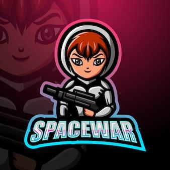 Ilustração do logotipo do espaço guerra menina mascote esport
