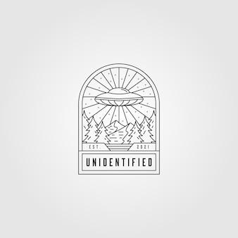 Ilustração do logotipo do espaço ovni line art, emblema minimalista do espaço