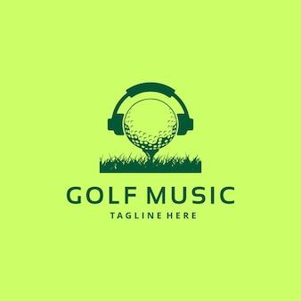 Ilustração do logotipo do esporte de golfe com a bola nos fones de ouvido.