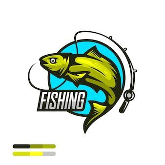 Ilustração do logotipo do esporte de pesca