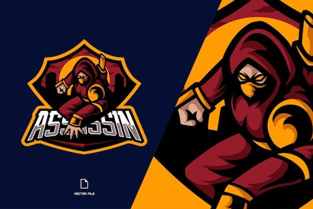 Ilustração do logotipo do esporte do mascote ninja vermelho legal para a equipe de jogo