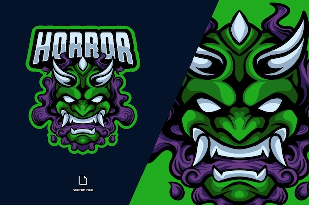 Ilustração do logotipo do esporte mascote da máscara do diabo verde