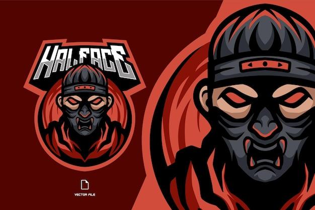 Ilustração do logotipo do esporte mascote da máscara oni assassino ninja