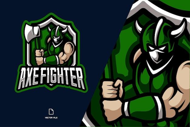 Ilustração do logotipo do esporte mascote do lutador com machado verde