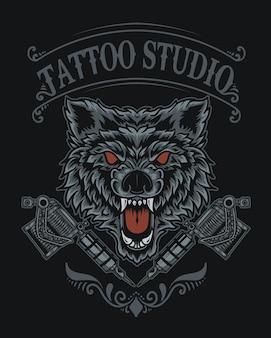 Ilustração do logotipo do estúdio de tatuagem de lobo