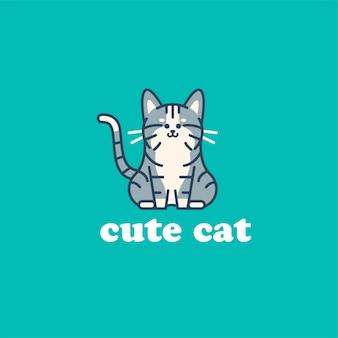 Ilustração do logotipo do gato fofo