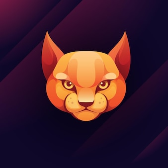 Ilustração do logotipo do gato touro gradiente colorido estilo