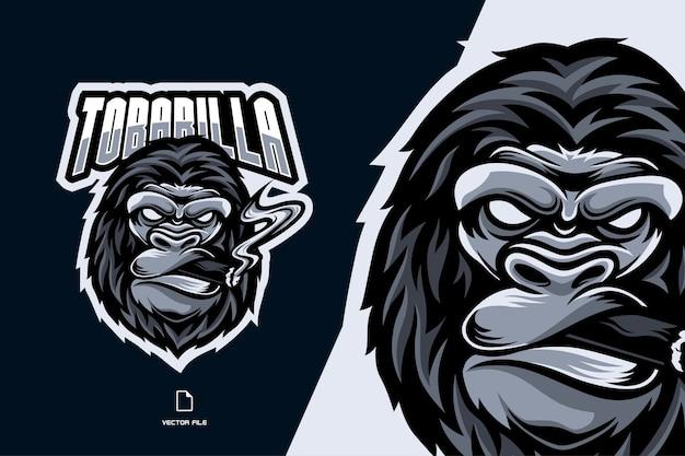 Ilustração do logotipo do gorila com fumaça de charuto mascote