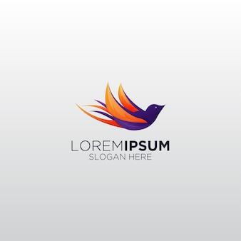 Ilustração do logotipo do gradiente do colibri voando