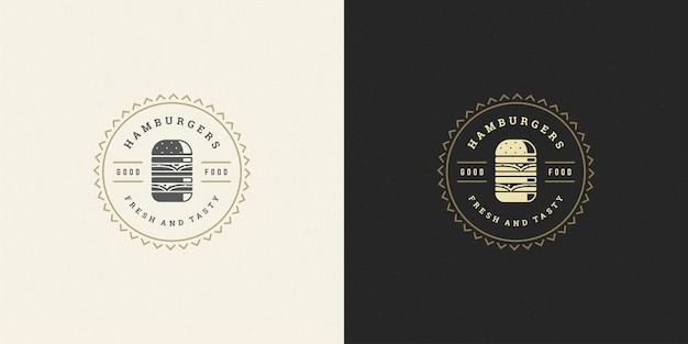 Ilustração do logotipo do hambúrguer conjunto de silhueta de hambúrguer