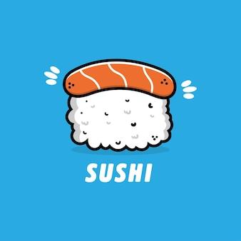 Ilustração do logotipo do ícone de sushi de comida japonesa