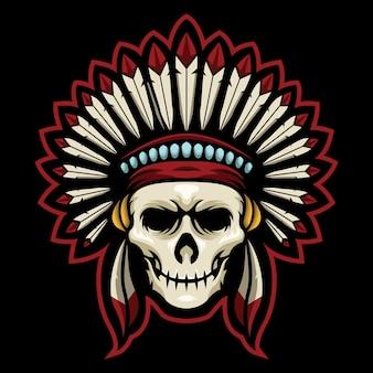 Ilustração do logotipo do indian skull esport