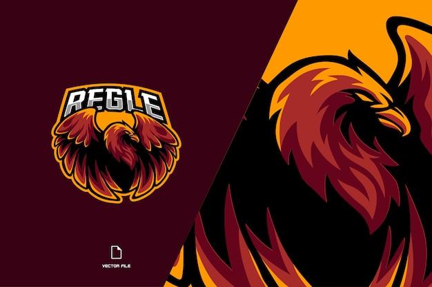 Ilustração do logotipo do jogo esport para mascote da águia vermelha para a equipe de jogos