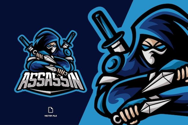 Ilustração do logotipo do jogo ninja com personagem de espada mascote esport para equipe esportiva