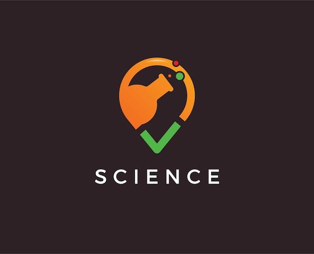 Ilustração do logotipo do laboratório de ciências do desenho vetorial do núcleo atômico