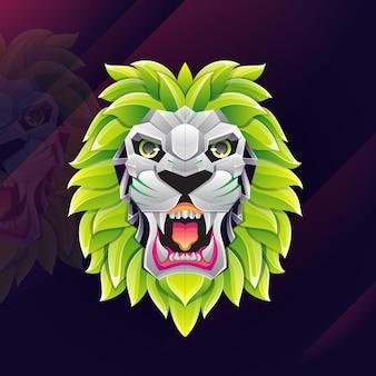 Ilustração do logotipo do leão touro gradiente colorido estilo