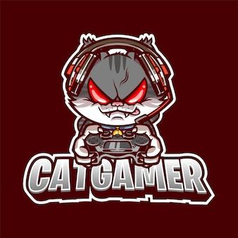 Ilustração do logotipo do mascote cat gamer