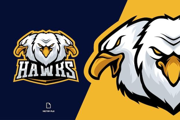 Ilustração do logotipo do mascote da cabeça de três águias