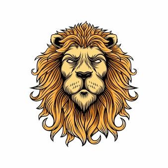 Ilustração do logotipo do mascote da cabeça do leão