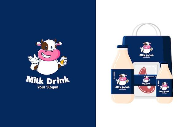 Ilustração do logotipo do mascote da vaca fofa para produtos lácteos ou carne