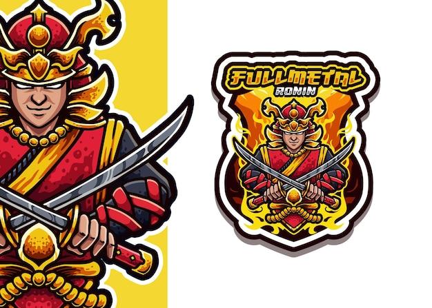 Ilustração do logotipo do mascote de ronin