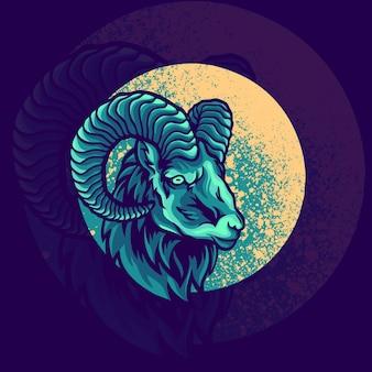 Ilustração do logotipo do mascote do animal de cabra
