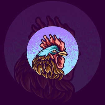 Ilustração do logotipo do mascote do animal galo
