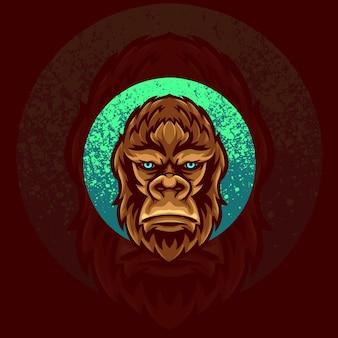 Ilustração do logotipo do mascote do animal gorila