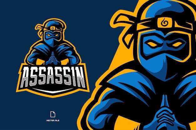 Ilustração do logotipo do mascote do assassino ninja azul
