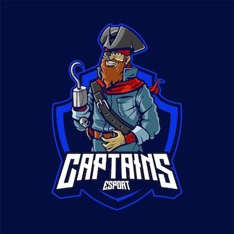 Ilustração do logotipo do mascote do capitão pirata