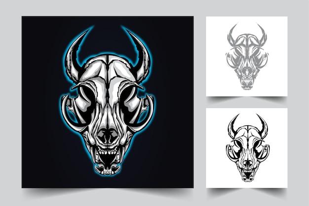 Ilustração do logotipo do mascote do crânio