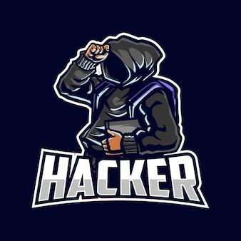 Ilustração do logotipo do mascote do desenho animado do hacker
