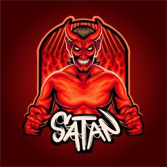 Ilustração do logotipo do mascote do inferno satanás