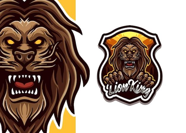 Ilustração do logotipo do mascote do leão Vetor Premium