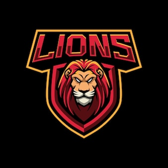 Ilustração do logotipo do mascote do lions para equipes de esporte ou e-sport