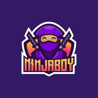 Ilustração do logotipo do mascote do ninja boy assassin e estilo esportivo