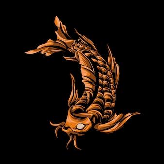 Ilustração do logotipo do mascote do peixe koi