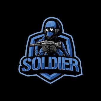 Ilustração do logotipo do mascote do soldado