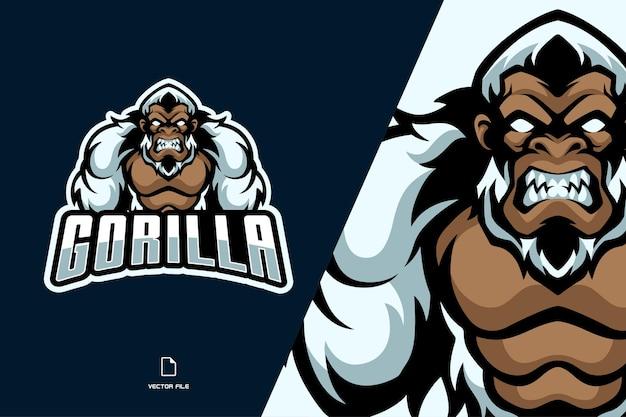 Ilustração do logotipo do mascote gorila branco Vetor Premium
