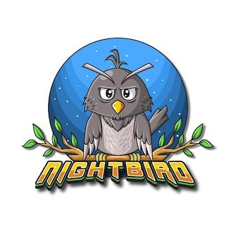 Ilustração do logotipo do mascote nightbird