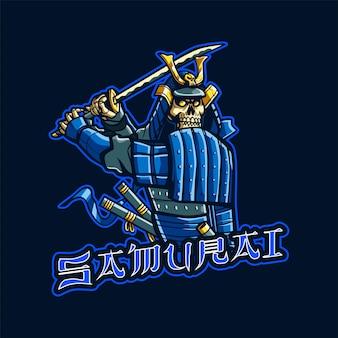 Ilustração do logotipo do mascote skull samurai