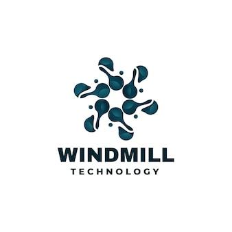 Ilustração do logotipo do moinho de vento com gradiente colorido estilo