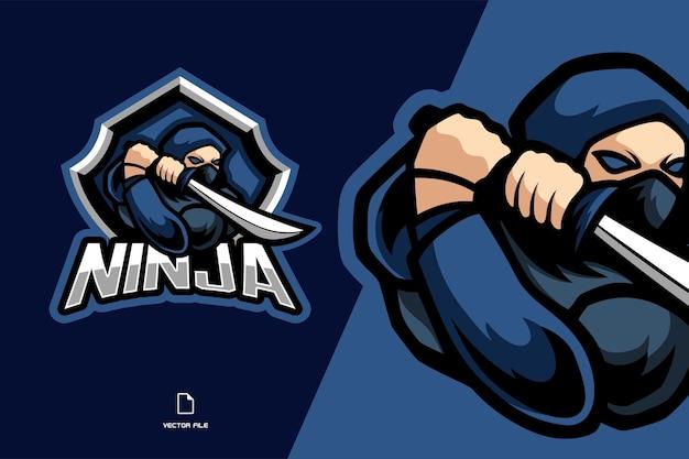 Ilustração do logotipo do ninja azul com espada mascote esport