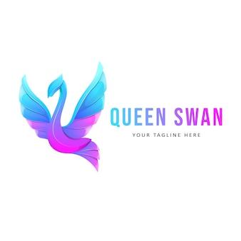 Ilustração do logotipo do pássaro cisne colorido