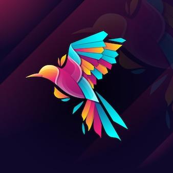 Ilustração do logotipo do pássaro touro gradiente colorido estilo