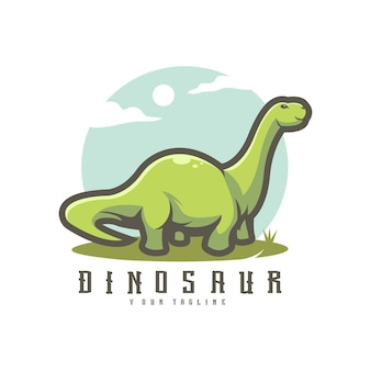 Ilustração do logotipo do personagem de desenho animado do dinossauro, mascote