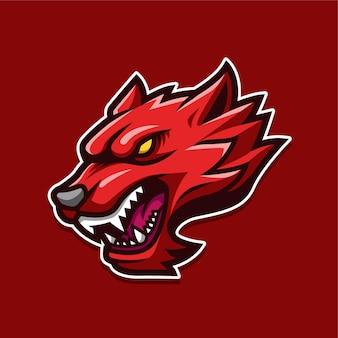 Ilustração do logotipo do personagem do mascote lobo vermelho